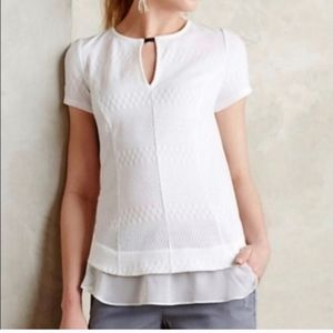 Deletta Anthropologie White Soledad Keyhole Blouse